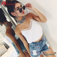 20-7706 2019  New Lace V-neck Solid Color Ladies Blouse Summer Sexy Sleeveless Crop Top