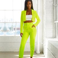 Two Piece Outfits Women Suits Office Fluorescence Neon Green Suit Crop Top And Pant Blazer Set Y11959