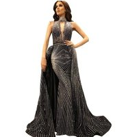 Black High Neck Mermaid Prom Evening Dress Long Gown