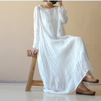Women  Cotton Linen Loose Kaftan Maxi Dress Long Sleeve O Neck Oversized Dresses