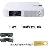 Salange XGIMI Z6 Portable 1080P Full HD DLP Android Projector with 700 Ansi Lumens Harman/Kardon Speaker and 2 Pair 3D Glasses