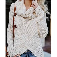 Womens Pullover Chunky Turtle Cowl Neck Asymmetric Hem Wrap Sweater Coat with Button Details