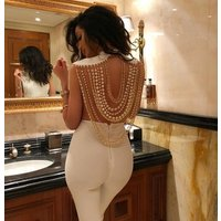 Top Quality Pearls Backless Rayon Bandage Jumpsuits Evening Party Jumpsuits