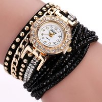 Duoya Watch Women Brand Luxury Gold Fashion Crystal Rhinestone Bracelet Dress Wrist Watch Women