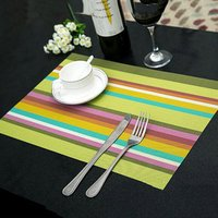 Manteles Doilies Cup Mats Coaster Pad Heat Resistant PVC Kitchen Dinning stripe Table Placemats for Table Mat 45*30cm