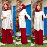 Latest fashion islamic arab clothes ladies muslim top sets two-pieces tunic abaya women wear dress