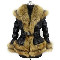 Factory pure Fur Down Coat Luxury real raccoon fur trim winter women down coat
