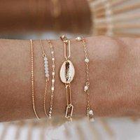 Fashion gold shell charm bracelet set for women wholesale N96133