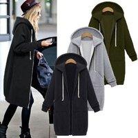 Autumn Winter Coat Women 2018 Fashion Casual Long Zipper Hooded Jacket Hoodie Sweatshirt Vintage Outwear Coat Plus Size
