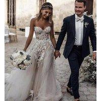 Simple Romantic Flower Bridal Gown Lace Boho Wedding Dress