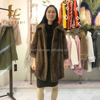 Winter Real Mink Fur Coats For Women Genuine brown  Leather Mink Coats Fashion Warm High-grade Mink Fur Coat With Stand-collar