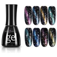 Queenfingers NPCG-05 15ml/bottle 8 Colors Long Lasting Bling Glitter Starry Sky Lacquer Cat Eye Effect Gel Nail Polish