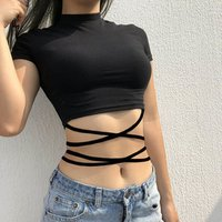 Sexy T Shirt Women Summer Crop Tops 2019 Cross Lace Up Sash Bandage Mock Neck High Waist Lace-Up Night Club Crop Top for Women