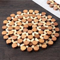Round Bamboo Placemat Insulation Pads Against Hot Desk Table Mats Coasters Hollow Wooden Pot Cup Mat Kitchen Accessories
