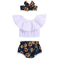 Baby Girls pink Ruffle off shoulder Tops and Sunflower Shorts and headband Outfits Toddler Sunflowers clothing set