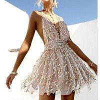 Backless 2018 beach summer dress women sequin embroidery elegant sundress Bow casual sexy dress short