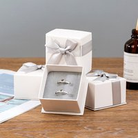 Luxury Grey Bow-knot Necklace Ring Earrings Gift Jewelry Set Packaging Box For Women(7*7*4.5cm)