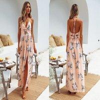 Summer dresses split V-neck long beach chiffon sexy  maxi dress