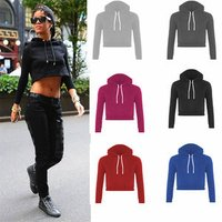 Walson HW012 New Women Tracksuit Cotton Pullovers Crop Top Hoodies Sweatshirts Autumn Clothing Outwear Long Sleeve Solid Black