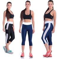 Womens Ladies cropped Running Leggings gym leggings fitness pants Sportswear with side pocket yoga pant