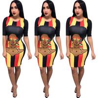 GC-86960503 God-Charm wholesale sexy women fashion striped printed pencil bandage bodycon dress