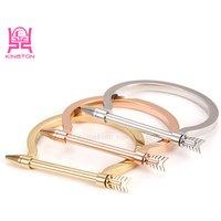 2017 new gold bracelet designs for men arrow bracelet bangle gold plated stainless steel bracelet