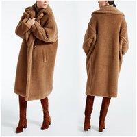 Women lambs Wool Coat high quality  winter Faux Shearling Teddy Furry cashmere fashion fur long Coat jacket outwear parka coat