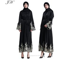 2019 Muslim Women Robes Islamic Golden Embroidery Cardigan Middle East Long Abaya Dress Dubai Kaftan Jilbab