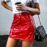 OOTN 2019 Fashion Clothes Female Sexy High Waist Ladies Office Skirts Short PU Leather Summer Mini Skirt Women Red Pencil Skirt