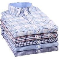 Wholesale casual 100%cotton mens long sleeve plaid oxford dress shirt