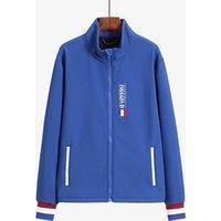 OEM Custom Logo Printing Blue Zipper Varsity Softshell Men Jacket For Spring