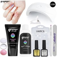 Acrylic nail set High Quality polygel nail kit UV Gel Polish pusher files false nail tips set