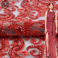 Customized new evening dress fancy embroidery red beaded lace fabric