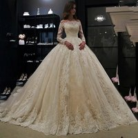 L1272 Lace Wedding Dress Off Shoulder Robe de mariage Vestido de noiva Long Sleeve Bridal Ball Gown 2019