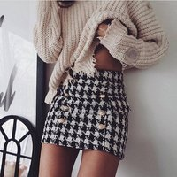 wholesale price fall and winter gird printed a-line mini women plaid check fleece tweed winter woolen zipper skirt