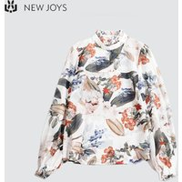 Casual New Fashion Chiffon Floral  Blouse For Lady Lantern Sleeve Womens Clothing Latest Design Collar Ruffles Detailed