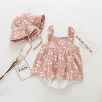 China wholesale custom absorbent breathable plain color girl ruffle sleeveless organic linen baby clothing