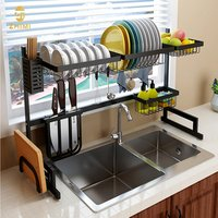 Wholesale Stainless Steel Kitchen Dish Drainer Storage Holder Shelf Black Color Over Sink Dish Drying Rack Organizer