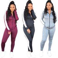 striped side zip coat long pants two piece sports training wear women jogging suits wholesale