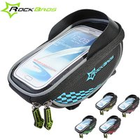 ROCKBROS Riding Bike Frame Front Tube handlebar Bag With Waterproof Cover Cycling Pannier SmartphoneandGPS Touch Screen