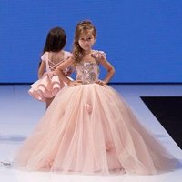 LSW116  Pink little girls birthday dresses 2-12 years old kids evening ball gowns fancy flower girls party dress for wedding