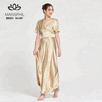 100% Silk Short sleeve Luxury charming V neckline Empire waist long Nightgown for women