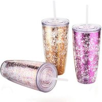 Hot selling custom design Logo double wall 24oz reusable straw glitter plastic tumbler cup with straw