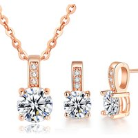 New Arrival Wedding Jewelry Set Silver / rose gold Color Cubic Zircon Necklace/Earring set