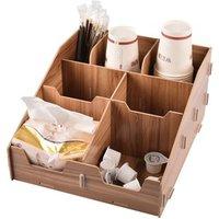 'Custom Multi-function Coffee Bar Condiment Holder Organizer Paper Towel Acrylic Storage Case Wood Paper Cup Organizer