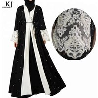 2019 Fashion pear with lace and batwing sleeve front open beading kimono muslim dress latest design women black new abaya