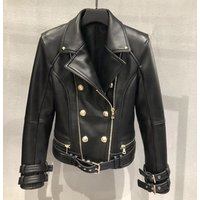 Hot lamb nappa leather coat genuine leather jacket women clothing custom classic biker jacket