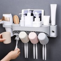 2019 New Design Wall Mounted Bathroom Plastic Toothbrush Holder and Toothpaste Dispenser with Suction Cups Set for Tooth Brush