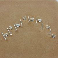 1 pair 925 Sterling Silver Cabochon Earrings Backs Settings Blank Round Base Stud Ear Flat Base Plug Jewelry DIY Earring Finding
