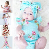 Body Suit Baby 2017 Rose Flower Girls Pattern Summer Rompers and Hair Accesori
